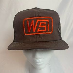 WSI Vintage Brown Orange Trucker Hat Cap USA made